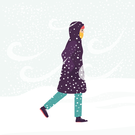 Girl in winter coat walking through cold wind and snow blizzard, female cartoon character frozen in snowy weather hurrying home, isolated hand drawn flat illustration