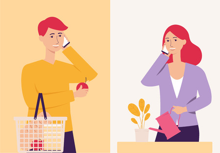 Young couple talking on the phone, happy cartoon man with shopping cart and woman watering a plant having phone call communication, modern technology flat vector illustration Illustration