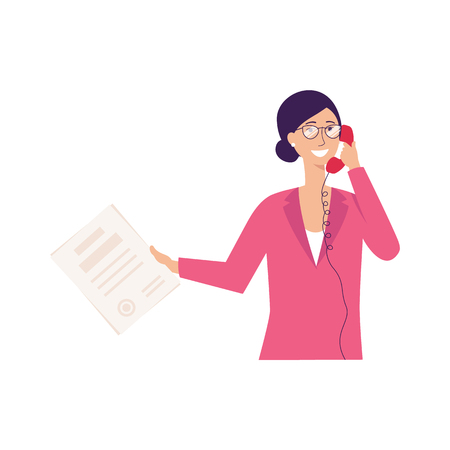 Young business woman talking on the phone, professional businesswoman with old fashioned telephone holding papers and smiling, isolated flat hand drawn vector illustration on white background Ilustração