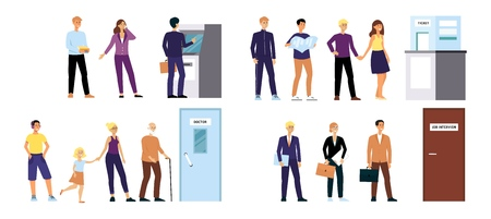 Set of cartoon people in queue for appointments, men and women standing in line for ATM machine, ticket center, doctor's office and job interview, isolated flat vector illustration on white background