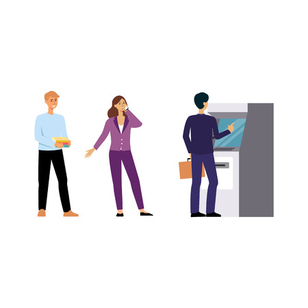 People standing in line for ATM machine in the bank to withdraw money, cartoon men and woman waiting for cash transaction, hand drawn isolated flat vector illustration on white background