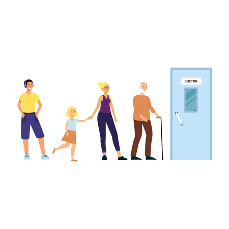 Cartoon people standing in queue for doctors office, medical clinic patients waiting in line before hospital door to get medicine, isolated flat vector illustration on white background Illustration
