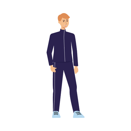 Young fit athlete man standing in sporty clothes and smiling, male teenage cartoon character with sport attire isolated on white background, flat hand drawn vector illustration