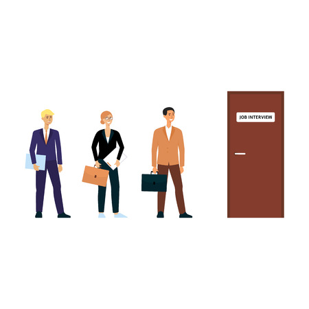 Queue for job interview, happy cartoon character people in business attire standing in line for door. Office work candidates waiting for turn - isolated flat vector illustration on white background