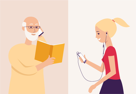 Old grandpa reading a book to his granddaughter through phone, happy senior elderly man with smartphone talking to smiling young girl, isolated flat cartoon characters vector illustration