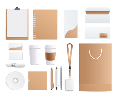 Blank corporate identity templates set in white and beige colors realistic style, vector illustration isolated on white background. Top view brown business stationery mockups collection