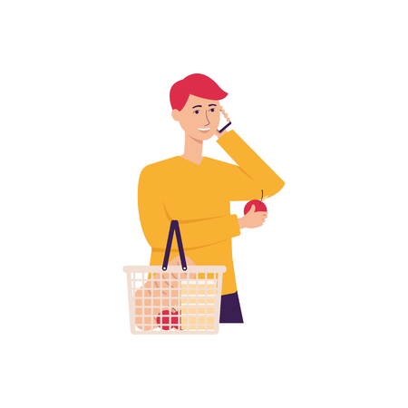 Young man or guy in the store holds cell phone making answering call flat vector illustration isolated on white background. People communication and conversation by mobile.
