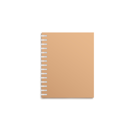 Brown notebook realistic mockup with blank cover, empty book with spiral border and craft paper hardcover, office and school stationery object isolated on white background, vector illustration Ilustração