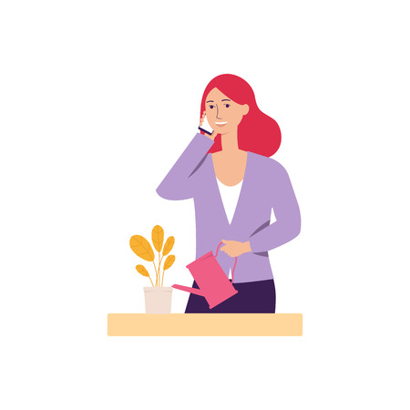 Woman talking on the phone at home or young girl holds cellphone making answering call flat vector illustration isolated on white background. Conversation by mobile. Illustration