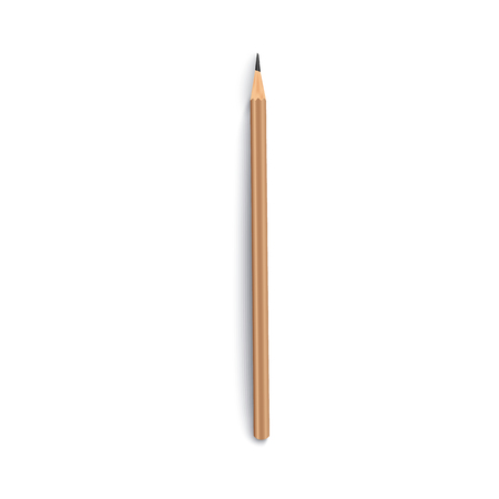 Mockup of top view one blank brown pencil lying upright realistic style, vector illustration isolated on white background. 3d template of office stationery pencil with space for brand name 向量圖像