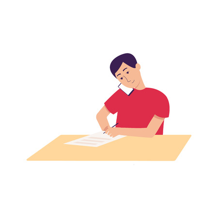 Happy school child doing homework and making a call, young boy sitting behind desk and writing down instructions on paper, cartoon kid on the phone - isolated flat vector illustration