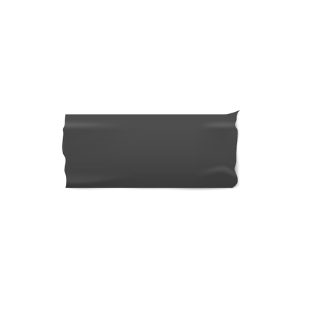 Strip of black adhesive duct tape isolated on white background - sticky masking label with realistic wrinkled matte rubber texture and ripped edges - vector illustration Illustration