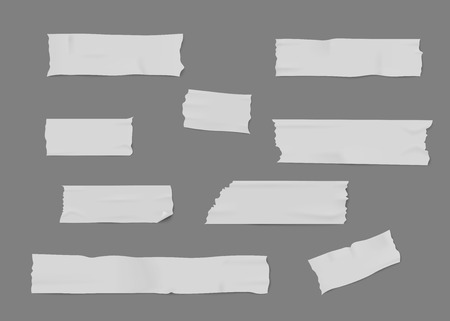 Set of white adhesive or masking tape pieces with torn edges realistic style, vector illustration isolated on gray background. Various strips of ripped sticky tape