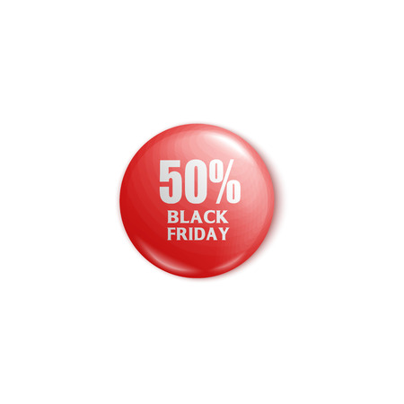 Red round button pin with 50% Black Friday discount promotion, colorful circle label or magnet merchandise for on sale products isolated on white background, realistic vector illustration