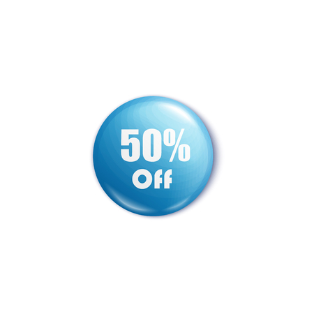 50 percent off blue round pin or button in realistic style, vector illustration isolated on white background. Sale glossy circle badge with discount price promotion text Stock Illustratie