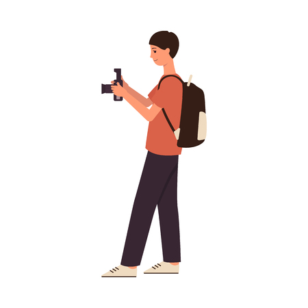 Young male photographer cartoon character taking a picture with digital camera, paparazzi man or teenager in casual outfit taking a photo. Isolated flat vector illustration on white background