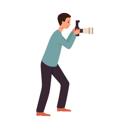 Side view man stand holding camera and taking photo picture flat cartoon style, vector illustration isolated on white background. Profile of full-length male photographer looking in camera lens