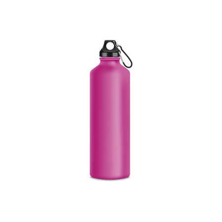 Travel or sport water pink bottle or container 3d realistic vector mockup illustration isolated on white background. Drinking reusable container template for branding and design. Stock Vector - 128170842