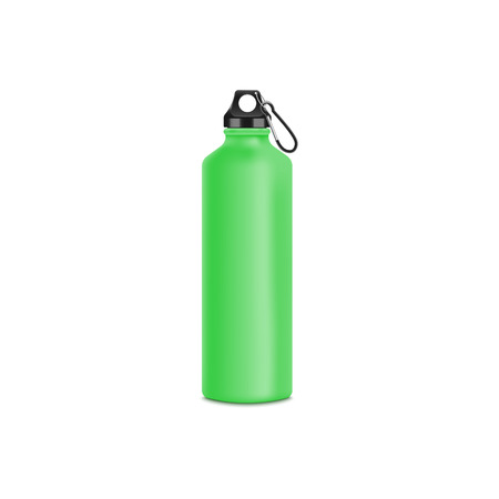 Green aluminium water bottle with metal plug and clip, sport drink container for cycling or hiking trip, stainless steel vessel realistic mockup isolated on white background, vector illustration