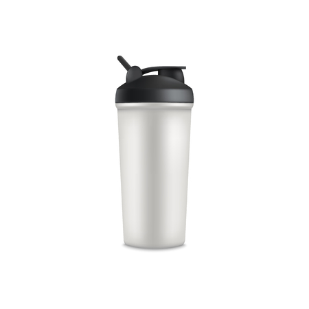 Grey sport bottle cup for protein shake. Heathy nutrition and supplement drink container, isolated realistic mockup of gray plastic shaker with black lid, vector illustration on white background