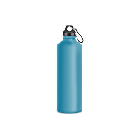 Blue metal water bottle for sport drink, blank aluminium thermo container for branding or advertising, bicycle or hiking equipment mockup, isolated realistic vector illustration on white background