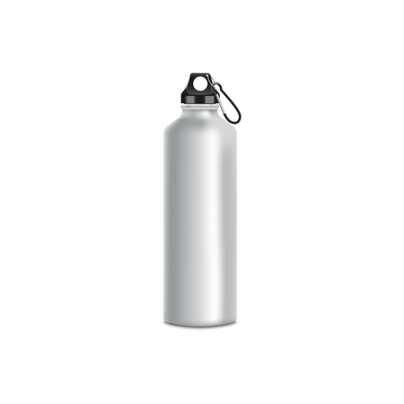 Grey sport bottle mockup, realistic metal water container with stainless steel texture and black lid and climbing clip, isolated vector illustration on white background