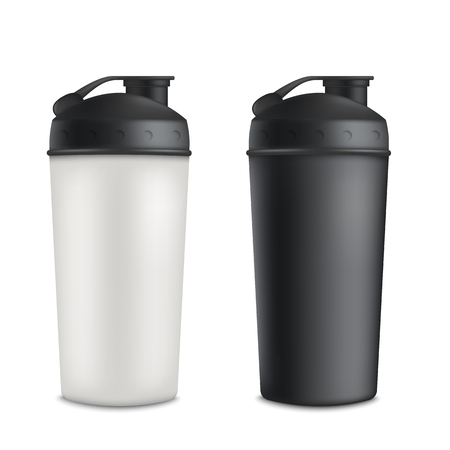 Mockup set of two plastic blank sport shaker bottles realistic style, vector illustration isolated on white background. 3d template of gray or white and black drink container for protein nutrition