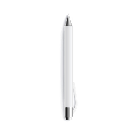 Mockup of top view one blank white ballpen lying upright realistic style, vector illustration isolated on white background. 3d template of office stationery ballpoint with space for branding design 写真素材 - 124791373