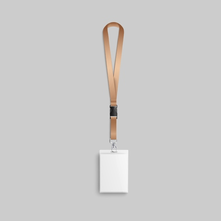 Golden lanyard and plastic identity or security badge with blank space for branding design and the name of the event, mock up 3d realistic vector illustration on background.