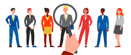 A group of candidates for a vacant job is reviewed through a PR managers magnifier flat vector illustration isolated on white background. Employee selection and choice.