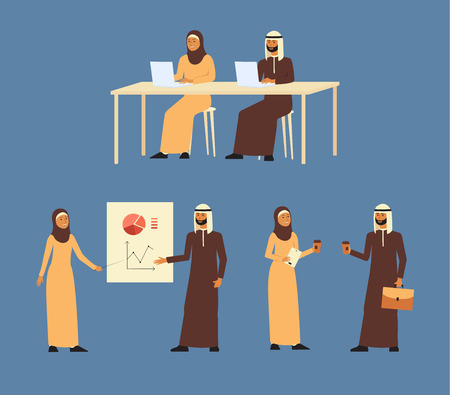Set of muslim men and women characters talking and making business together cartoon flat vector illustration isolated on blue background. Arab business people teamwork. Illustration