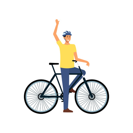 Cartoon man with bicycle standing and waving, happy male cyclist with helmet stopped on bike ride to greet someone. Isolated hand drawn flat vector illustration on white background