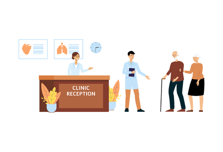 Hospital staff welcomes elderly patient couple at clinic reception, old cartoon characters with cane come for medical service and see receptionist at front desk, isolated flat vector illustration