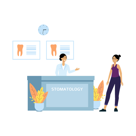 Female patient at dentist clinic reception desk. Friendly receptionist welcomes client to doctors dental office at stomatology hospital, flat isolated hand drawn cartoon characters - vector illustration Иллюстрация