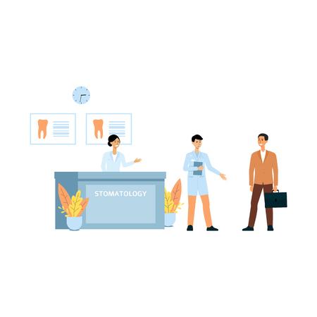 Gerente de mujer joven en el mostrador de recepción y el médico da la bienvenida a pacientes de estomatología o ilustración de vector de dibujos animados de clínica dental aislado sobre fondo blanco.