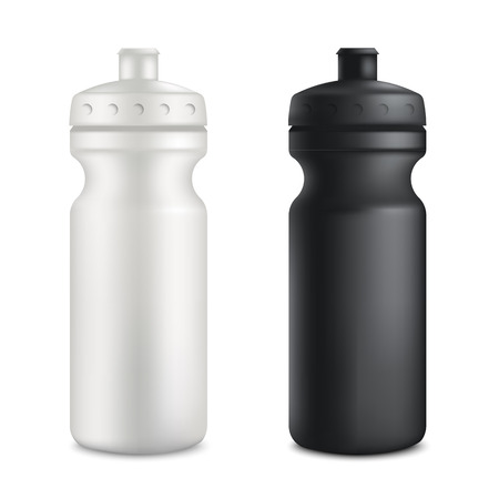 Mockup set of two plastic blank sport bottles realistic style, vector illustration isolated on white background. 3d template of gray or white and black fitness drink containers for sports nutrition