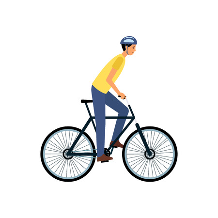 Young man riding a bike - happy flat cartoon character with helmet on bicycle ride. Healthy lifestyle activity, outdoor biking lover - isolated vector illustration on white background Vektorové ilustrace