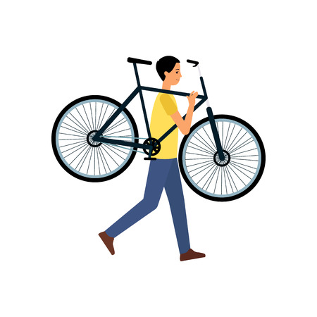 Man or cycling sportsman carrries a bicycle flat vector Illustration isolated on a white background. Cyclist character for active lifestyle and summer sport concept.