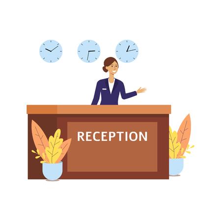 Réceptionniste de l'hôtel dans la salle du hall de la réception, femme heureuse de dessin animé en uniforme au comptoir de la réception avec trois horloges, souriant et saluant - illustration vectorielle plane isolée sur fond blanc