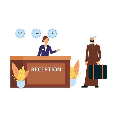 Recepcionista de dibujos animados dando la bienvenida a un huésped en el mostrador de facturación del hotel, hombre de negocios musulmán en la recepción obteniendo una habitación, mujer en uniforme y hombre árabe aislado ilustración vectorial plana sobre fondo blanco