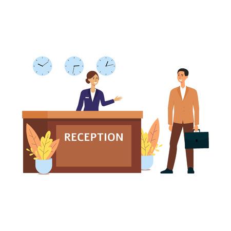 Karikaturgeschäftsmann, der im Hotelzimmer an der Rezeption eincheckt, lächelnde Empfangsdame an der Rezeption mit drei Uhren begrüßt den Gast, isolierte flache Vektorgrafik auf weißem Hintergrund