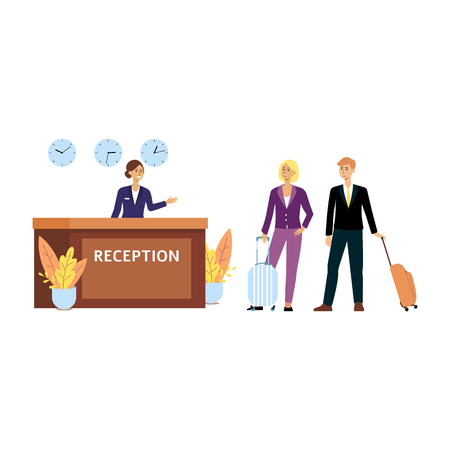 Customers or tourists at reception in hotel flat vector illustration isolated on white background. Hotel clerk or receptionist woman welcomes visitors at reception desk.