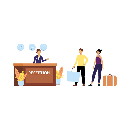 Receptionist or service clerk welcomes guests at hotel lobby flat vector illustration isolated on white background. Tourists at reception desk for travel and vacation design. Illustration