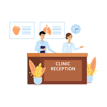 Hospital staff at clinic reception, friendly receptionist man and woman cartoon characters in medical uniform smiling ready for service, isolated flat vector illustration isolated on white background