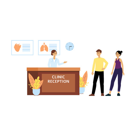 Health clinic reception front desk, female cartoon receptionist welcomes man and woman to hospital. Young people at doctors office for medicine and medical advice, isolated flat vector illustration