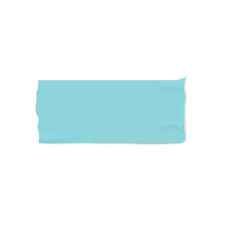 One piece of blue adhesive or masking tape with torn edges realistic style, vector illustration isolated on white background. Illustration