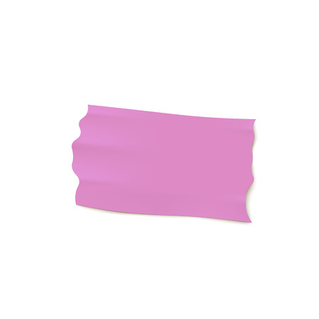 Adhesive wide lilac tape torn piece glued on a surface 3d realistic vector illustration isolated on white background. Illustration