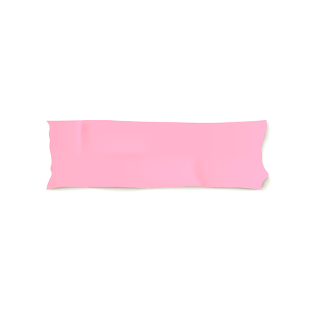 Realistic strip of light pink adhesive tape isolated on white background. Pastel color small piece of Washi sticky label with smooth paper texture - vector illustration