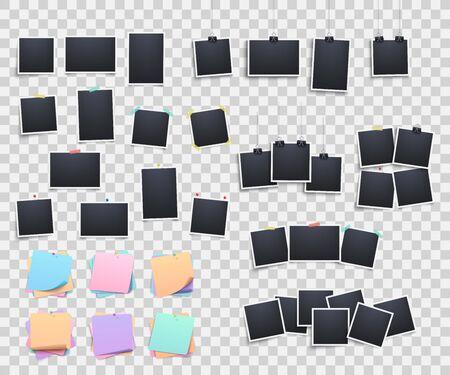 Conjunto de plantillas realistas para colgar y fijar y marcos de fotos y fotografías, pegatinas de papel y alfileres sobre un fondo transparente. Vector ilustración 3d realista de marcos de fotos.