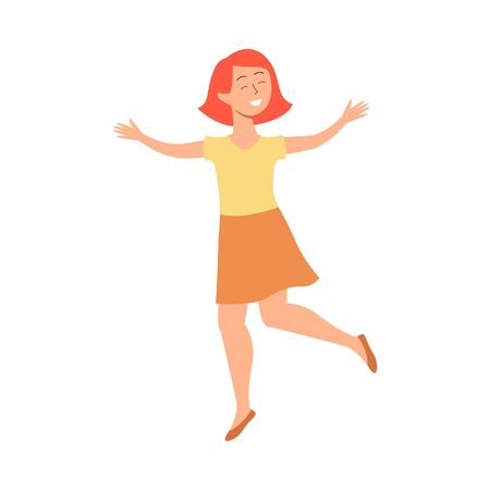 Happy little girl smiling and jumping, cute child having fun and doing jump pose, cheerful kid expressing joy, positive childhood drawng - isolated flat hand drawn vector illustration Illustration